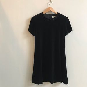 Velvet Short Sleeve A-Line Little Black Dress